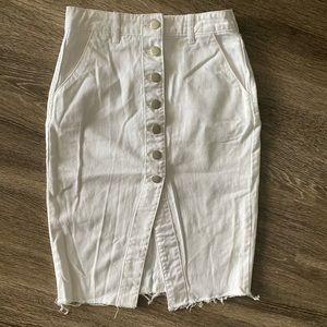 F21 white denim pencil skirt szS
